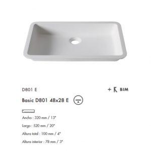 Lavabo Basic D801 48x28 Krion
