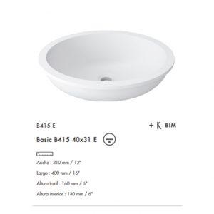 Lavabo Basic bajo cubierta B415E 40x31 Krion