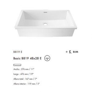 Lavabo Basic bajo cubierta B819E 48x28 Krion