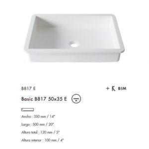 Lavabo Basic bajo cubierta B820E 50x35 Krion