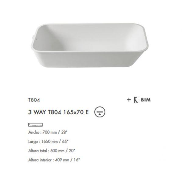 Bañera 3-Way 165x70 Krion